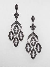 black chandelier earrings lyst jude frances black spinel chandelier earrings in black