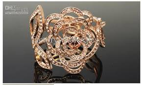 rose rhinestone bracelet images 2018 rhinestone bracelet alloy plated rose gold rose rhinestone jpg
