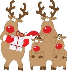 christmas reindeer reindeer and his family christmas characters vector isolated