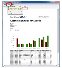 print to excel file landlordmax property management software support