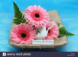 happy birthday card with pink gerbera daisies stock photo royalty