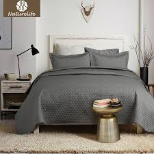 naturelife grey quilt set bedspread bed cover quilted