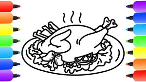 roasted turkey coloring page how to draw roasted turkey learn