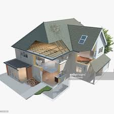 cross section model of a house with structural problems including