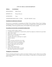 Job Description Resume Samples by Janitor Job Responsibilities Resume Sainde Org