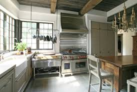 kitchen island with hanging pot rack stainless steel pots for the modern kitchen