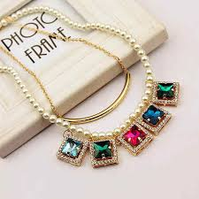 color rhinestone necklace images Romantic multi color rhinestone gold color alloy choker necklace jpg