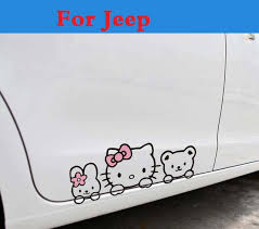 jeep liberty cartoon cute hello kitty car door body cover sticker car decoration styling