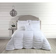 jessica simpson lulu white ruched 3 piece comforter set free