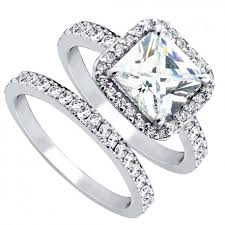 wedding ring sets women s cubic zirconia princess cut sterling silver engagement