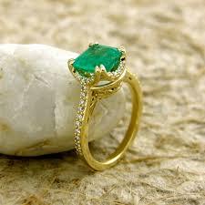 gold emerald engagement rings cushion cut emerald engagement ring in 14k yellow gold with