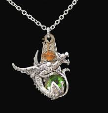 victorian gothic dragon steampunk style necklace by byrdldy on