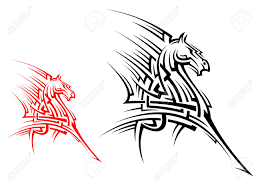 tribal horse mascot for tattoo or another conceptual design