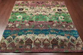 Sari Silk Rugs by Rugsville Ikat Green Sari Silk 30005 8x10 Rug Rugsville Shopping