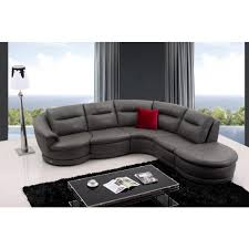 Gray Leather Sectional Sofa Divani Casa Quebec Modern Light Grey Italian Leather Sectional