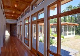 simply interior hallway wooden home and glass windows part