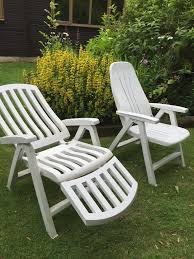 2 recliners u0026 4 upright white plastic garden chairs in norwich