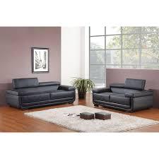 canape cuir avec tetiere canapé en cuir avec têtières réglables willis noir 2 places