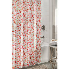 Orange Shower Curtains Shop Allen Roth Polyester Coral Floral Shower Curtain At Lowes