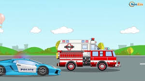 police car with racing cars crash race in car cartoon for baby 3d