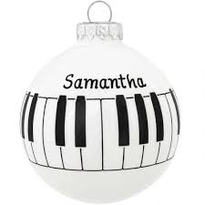 personalized piano keyboard glass ornament hobbies christmas