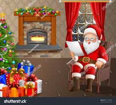 santa claus reading list gifts living stock vector 518313097