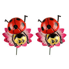 wonderland combo pack of 2 plastic ladybug with metal 24 inches