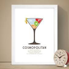 cosmopolitan recipe cosmopolitan cocktail poster drink poster recipe print
