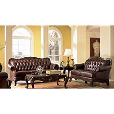 Tufted Leather Sofas Classic Button Tufted Leather Sofa Set