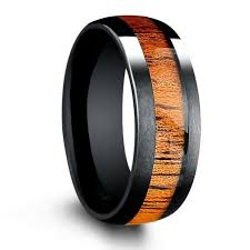 mens wooden wedding bands 8mm black tungsten wedding band with koa wood inlay northernroyal