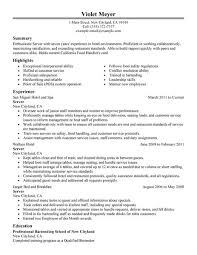 Examples Of Server Resumes Server Resume Template Food Server Resume Sample Server Resume