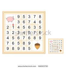 labyrinth numbers worksheet preschool kids vector stock vector