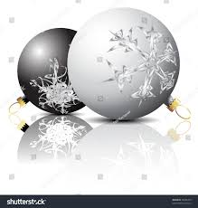 black white christmas bulbs snowflakes ornaments stock vector