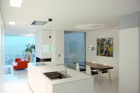 apartment beautiful kitchen interior with wall mounted white