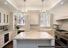 backsplash ideas for white kitchens white kitchen with wood island carrara backsplash black granite in