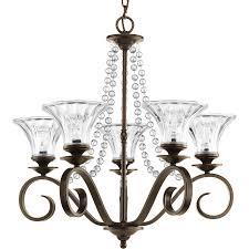 Antique Glass Chandelier Shop Progress Lighting Bliss 25 75 In 5 Light Antique Bronze
