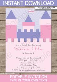 birthday party invitations princess birthday party invitations template