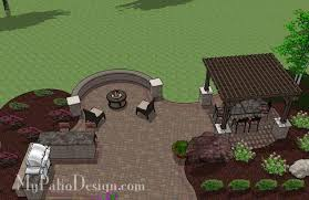 Large Paver Patio Design With Grill Station Bar Plan No by Large Curvy Patio Design With Grill Station And Pergola Download