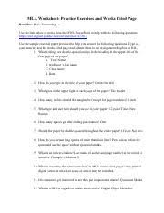 mlaworksheet mla worksheet practice exercises and works cited