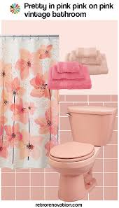 13 ideas to decorate an all pink tile bathroom retro renovation Pink And Teal Curtains Decorating