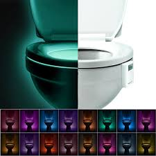 toilet bowl night light activated by motion sensor and darkness