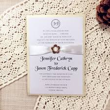 wedding invitations gold and white classic wedding invitations gold buckle white satin ribbon layered