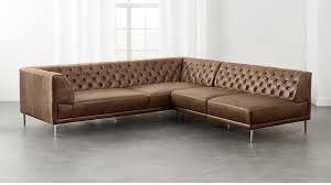 Tufted Sectional With Chaise Savile Dark Saddle Leather Tufted Sectional Sofa Cb2