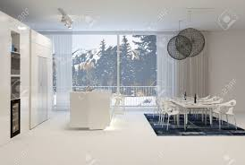 modern white kitchen with eat in dining table and large windows