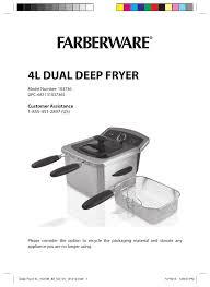 farberware 103736 4l dual deep fryer user manual 15 pages
