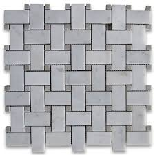 carrara white 1x2 basketweave mosaic tile w gray dots polished