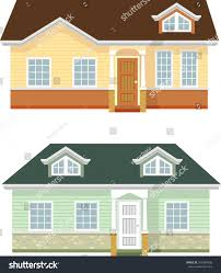 bungalow architecture bungalow house variationtwo varied single floor stock vector