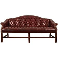 Leather Sofa With Studs by Burgundy Leather Chippendale Camelback Sofa At 1stdibs
