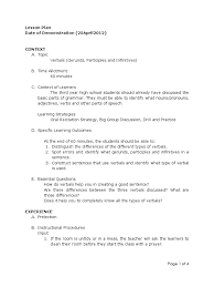 lesson plan on verbals verb adjective