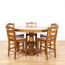 Plank Dining Room Table This Tall Dining Set Is Featured In A Solid Wood With A Glossy